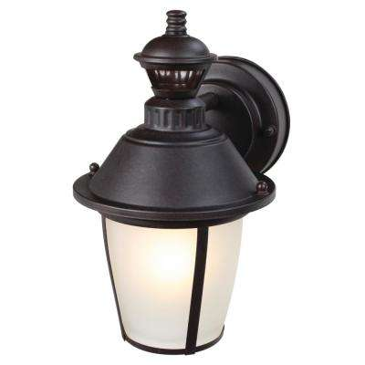 1-Light Heritage Bronze Motion Activated Outdoor Wall Mount Lantern