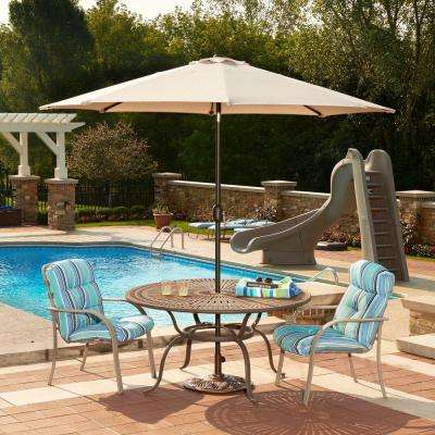 Mirage 9 ft. Octagonal Market Umbrella with Auto-Tilt in Champagne Olefin