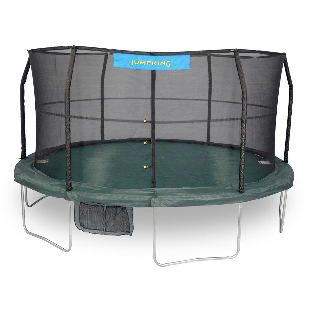 Jumpking 14ft Jumppod Deluxe Trampoline With Enclosure: JUMPKING 14 Ft. Trampoline Enclosure Combo-JK1466C2