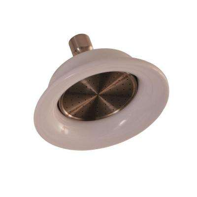 Sunflower 1-Spray 6-1/4 in. Porcelain Ring Showerhead in Brushed Nickel