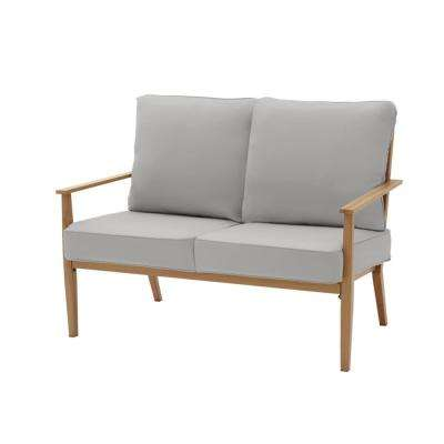 Alderton Brown Steel Outdoor Patio Loveseat with CushionGuard Stone Gray Cushions