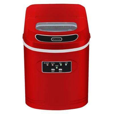 27 lb. Compact Portable Ice Maker in Metallic Red