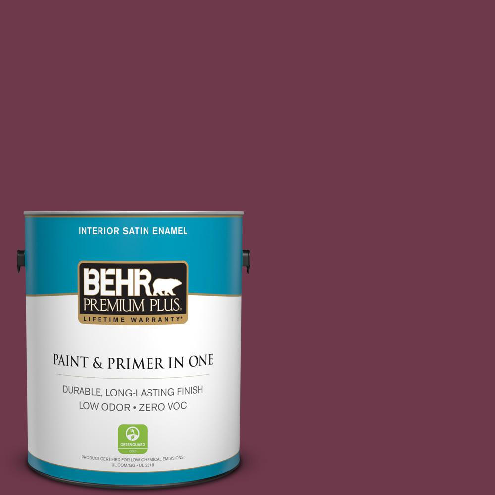 1 gal. #PPU1-14 Formal Maroon Zero VOC Satin Enamel Interior Paint