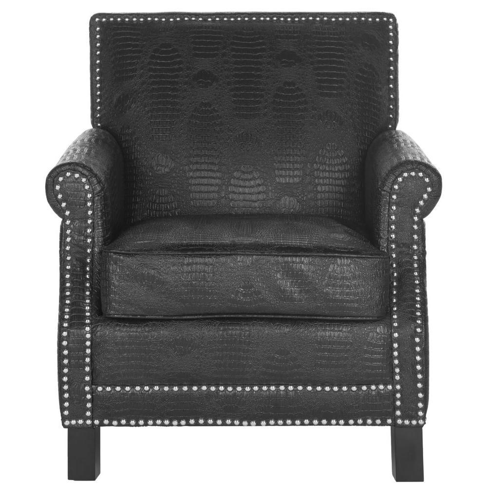 Easton Black Crocodile/Espresso Bicast Leather Club Arm Chair