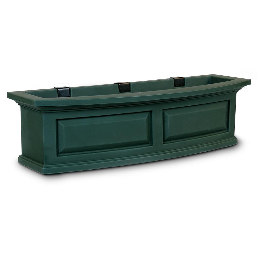 Self-Watering Nantucket 10 in. x 36 in. Green Polyethylene Window Box