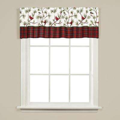 Winter Birds 13 in. L Polyester Valance in Multicolor