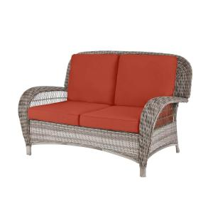 Beacon Park Gray Wicker Outdoor Patio Loveseat with Sunbrella Henna Red Cushions