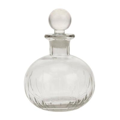 Clear Glass Round Bottle with Stopper