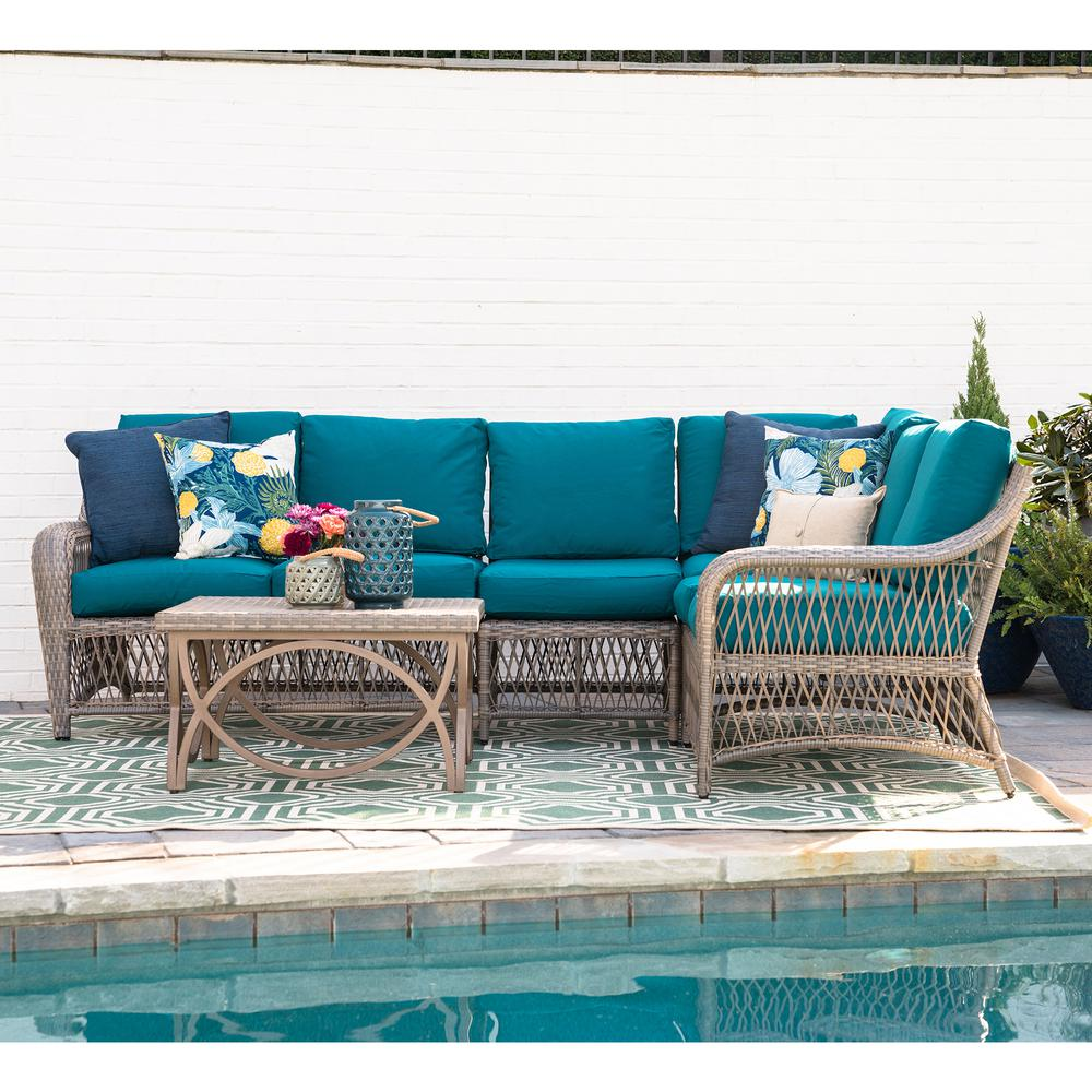 Merveilleux Leisure Made Birmingham 5 Piece Wicker Outdoor Sectional Set With Peacock  Cushions