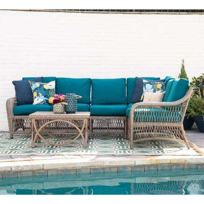 Birmingham 5-Piece Wicker Outdoor Sectional Set with Peacock Cushions