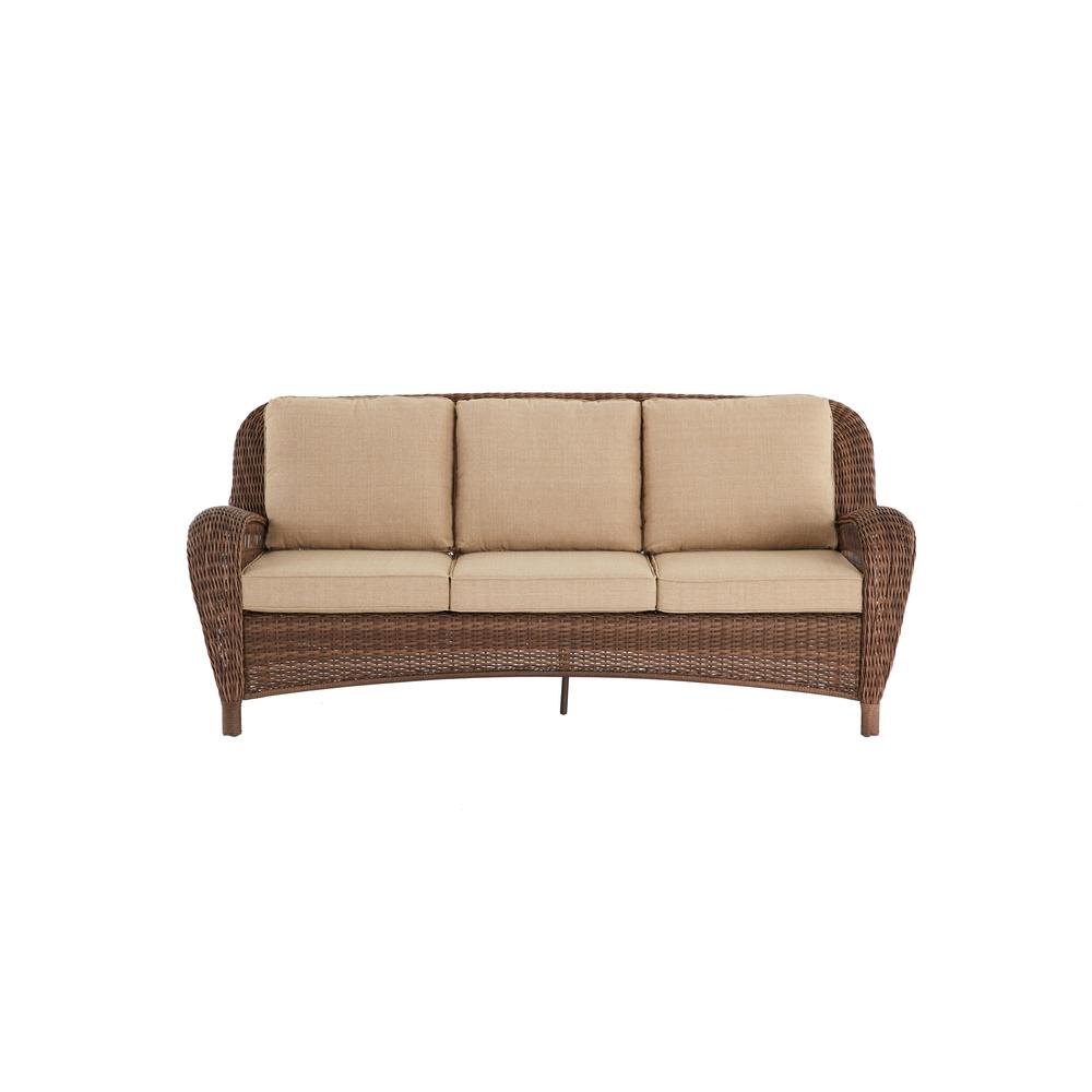 Hampton Bay Beacon Park Steel Wicker Outdoor Sofa With
