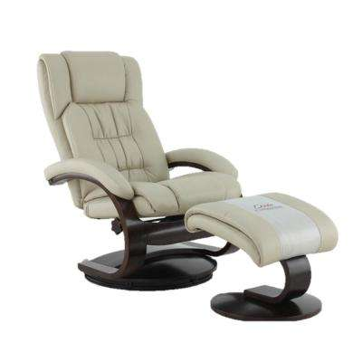 Oslo Collection Beige Breathable Air Leather Swivel Recliner With Ottoman
