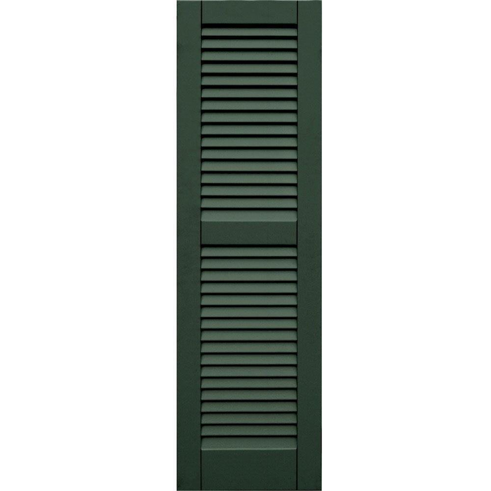 Winworks Wood Composite 15 in. x 51 in. Louvered Shutters Pair #656 Rookwood Dark Green