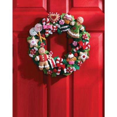 15 in. Round Cookies and Candy Adult Felt Applique Wreath Kit