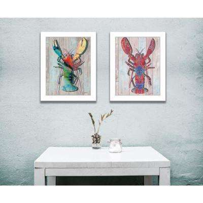 """18 in. x 14 in. """"Lobster"""" Collection by Sear, Printed Framed Wall Art"""