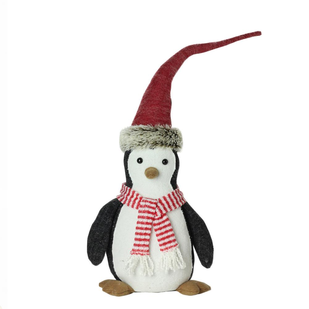 16 in. Large Plush Penguin in Striped Scarf and Santa Hat