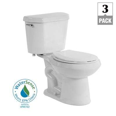 2-Piece 1.28 GPF High Efficiency Single Flush Elongated Toilet in White, Seat Included (3-Pack)