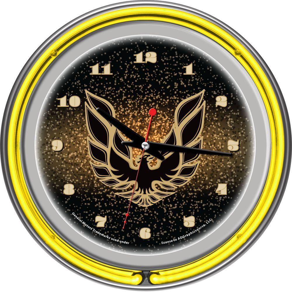 14 in. Pontiac Firebird Black Chrome Double Ring Neon Wall Clock