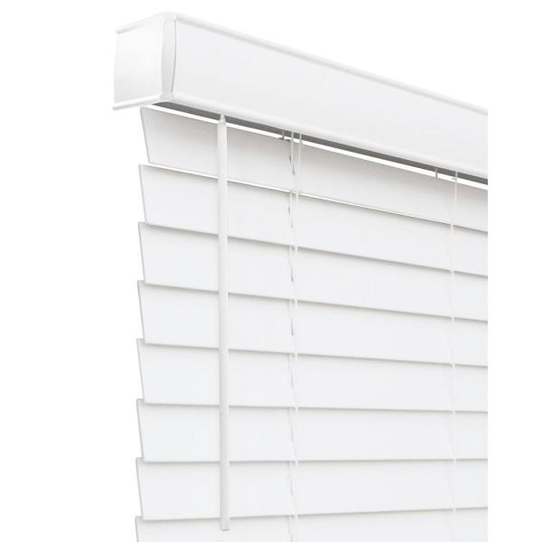 Basic Collection Pre-Cut White Cordless Room Darkening Fauxwood Blind with 2 in. Slats, 60 in. W x 84 in. L