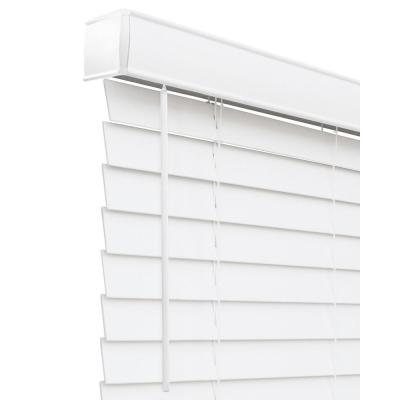 Basic Collection Pre-Cut White Cordless Room Darkening Faux Wood Blind with 2 in. Slats 63 in. W x 60 in. L