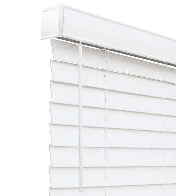 Basic Collection Pre-Cut White Cordless Room Darkening Fauxwood Blind with 2 in. Slats, 66 in. W x 72 in. L