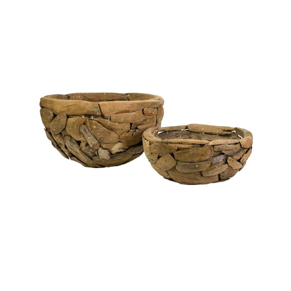 Home Decorators Collection 23.75 in. W Mandrill Teakwood Puzzle Bowls