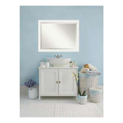 Craftsman White Wood 45 in. W x 35 in. H Single Contemporary Bathroom Vanity Mirror