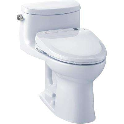 Supreme II Connect 1-Piece 1.28 GPF Elongated Toilet with Washlet S300e Bidet and CeFiOntect in Cotton White
