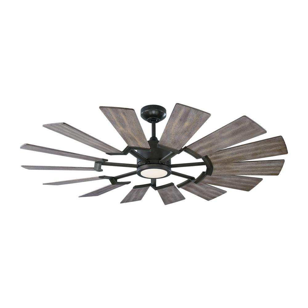 Monte Carlo Prairie 52 in. Integrated LED Indoor/Outdoor Aged Pewter Ceiling Fan with Light Kit and Light Grey Weathered Oak Blades