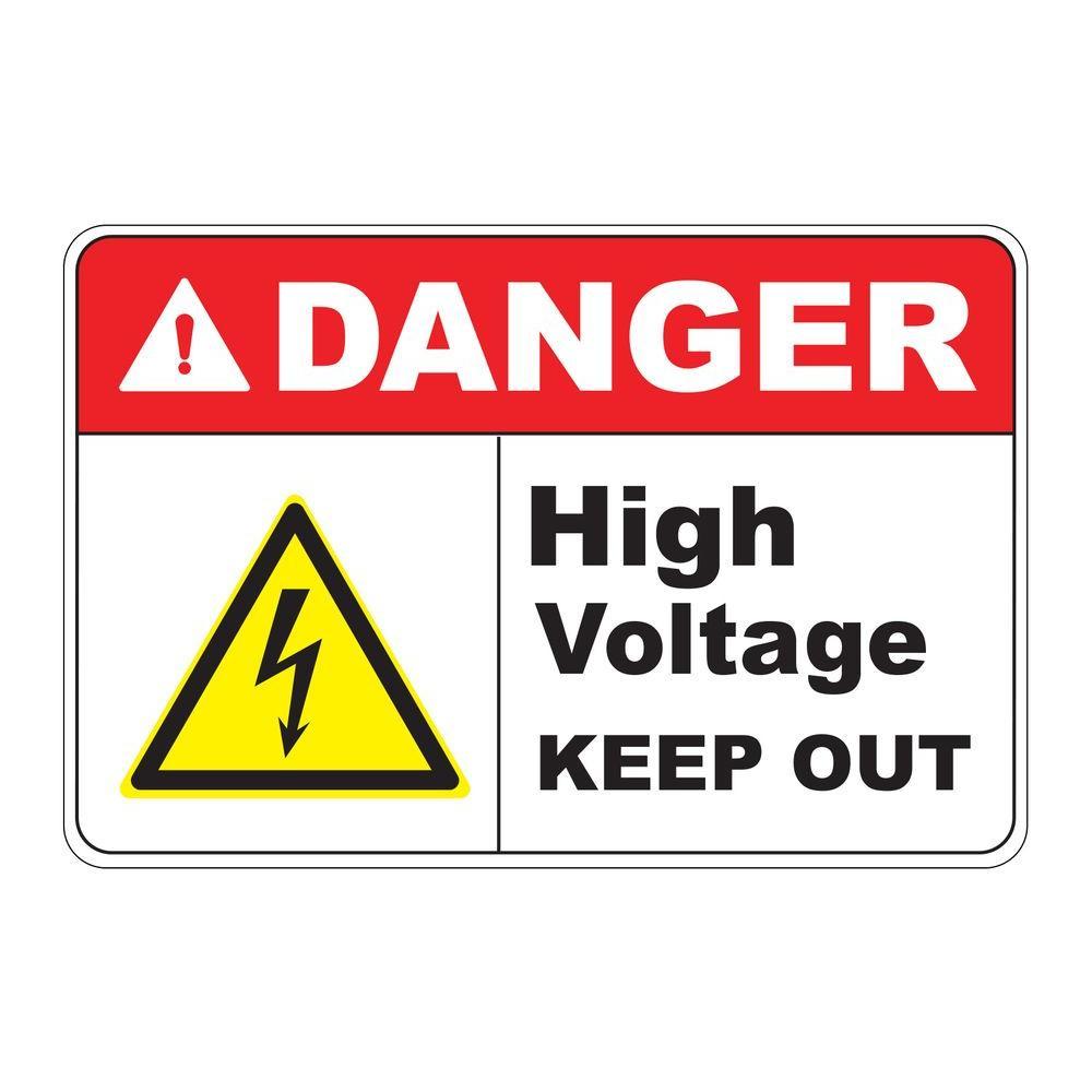 Rectangular Plastic Danger High Voltage Safety Sign by