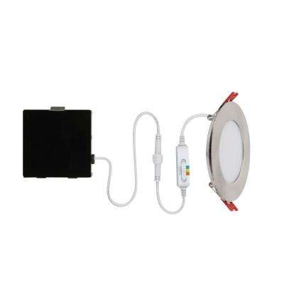 Ultra Slim 4 in. Selectable New Construction and Remodel Canless Recessed Integrated LED Kit for Shallow Ceiling