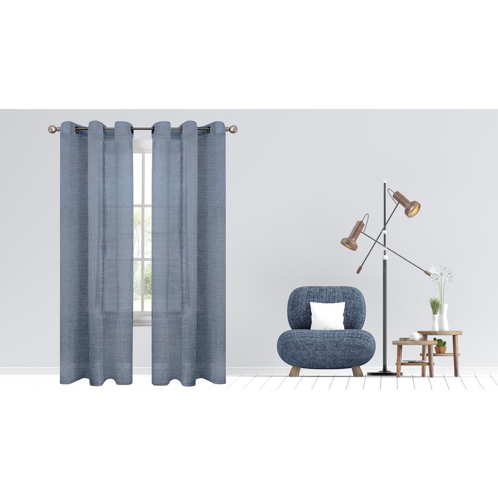 Hannah 38 in. W x 84 in. L Semi Sheer Grommet Window Panel Pair in Lavender (2-Pack)