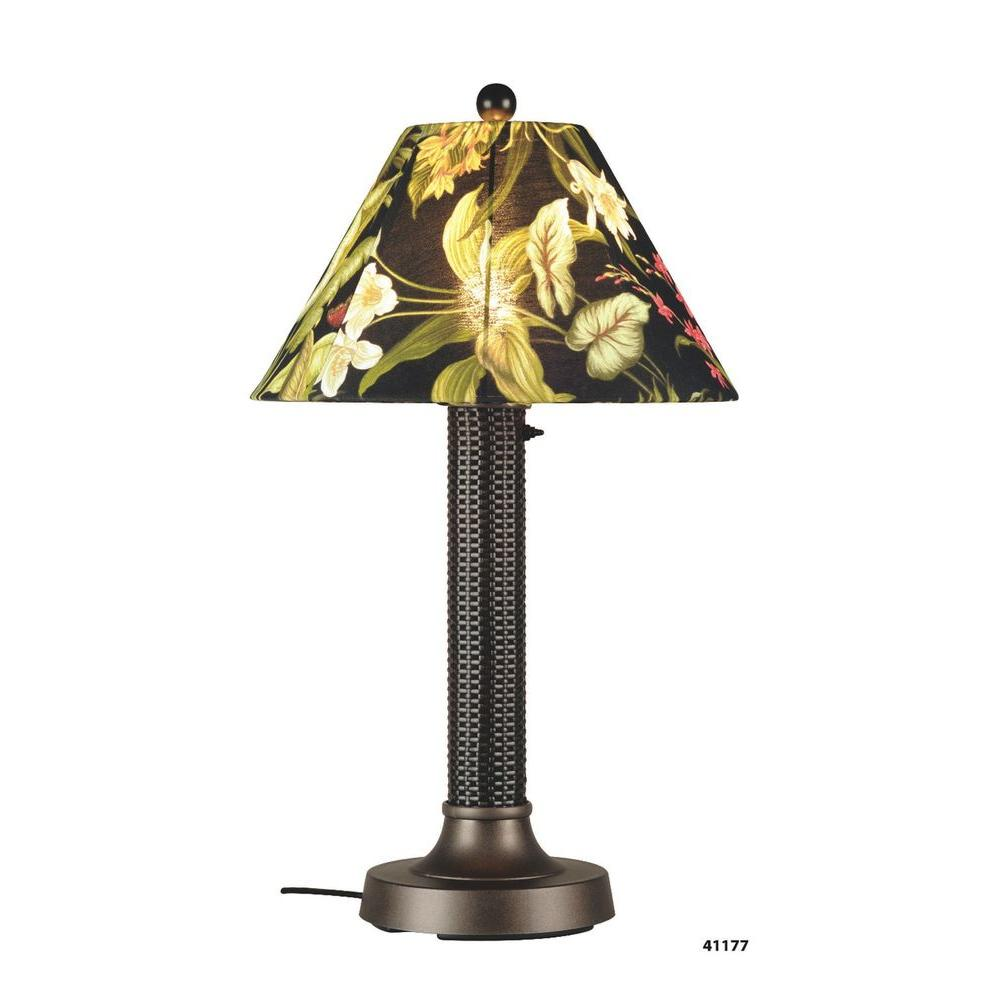 Patio Living Concepts Bahama Weave Drk Mahogany Thick Weave 34 in. Outdoor Table Lamp with Ebony Shade Medium-DISCONTINUED