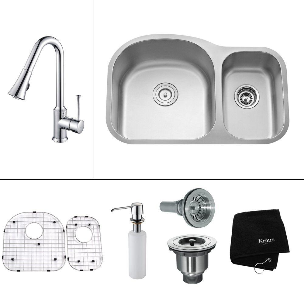 KRAUS All-in-One Undermount Stainless Steel 31.5x20x15.53 0-Hole Double Bowl Kitchen Sink w/Kitchen Faucet Chrome-DISCONTINUED