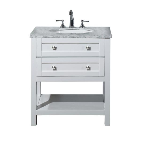 Marla 30 in. W x 22 in. D Vanity in White with Marble Vanity Top in Carrara with White Basin