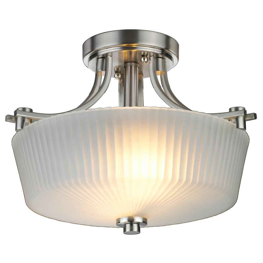 Hampton Bay Sheldon Collection 2-Light Brushed Nickel Semi-Flushmount Light