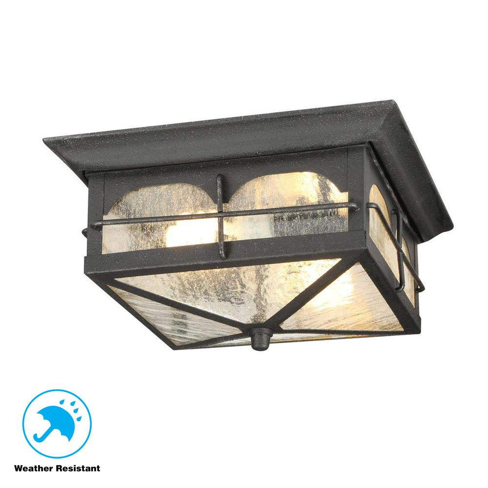 outdoor flush mount wall light low profile exterior wall home decorators collection brimfield 2light aged iron outdoor flushmount light