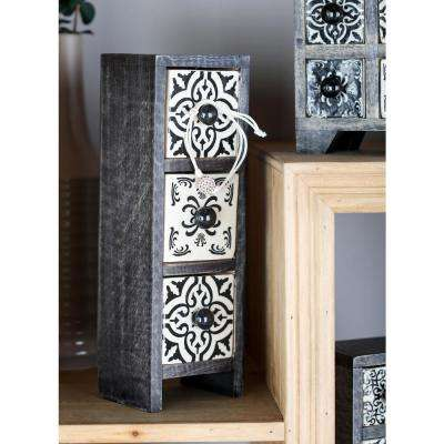 Black Rectangular 3-Drawer Jewelry Chest with White Lattice Design