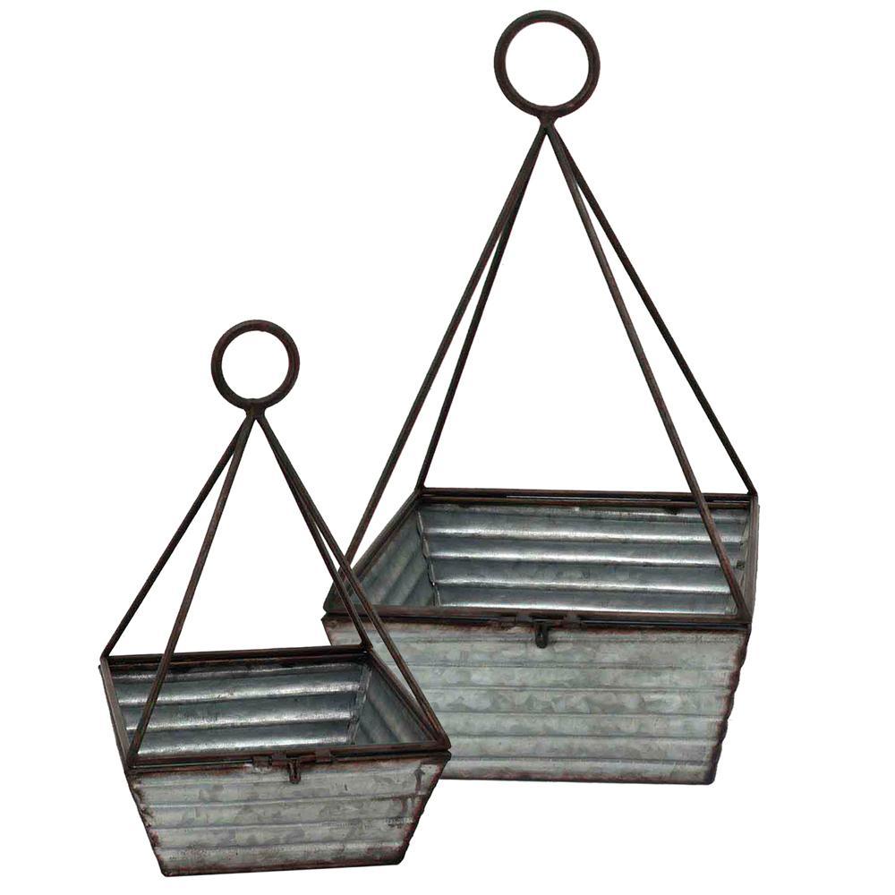 Gray Decorative Metal Basket (Set of 2)