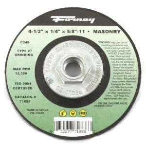 Forney 4-1/2 inch x 1/4 inch x 5/8 in.-11 Threaded Masonry Type 27 C24S-BF Grinding Wheel by Forney