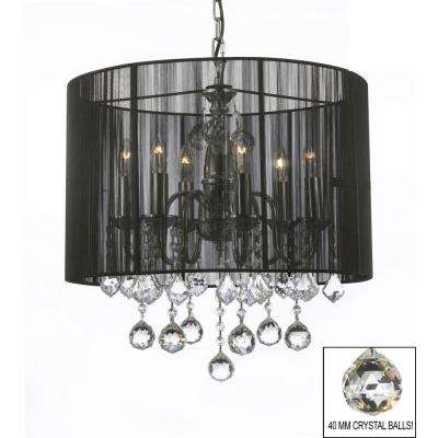 Empress Crystal 6-Light Chrome Chandelier with Large Black Shade