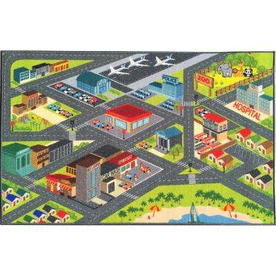 Multi-Color Kids Children Bedroom Playroom Road Map Educational Learning and Game 8 ft. x 10 ft. Area Rug