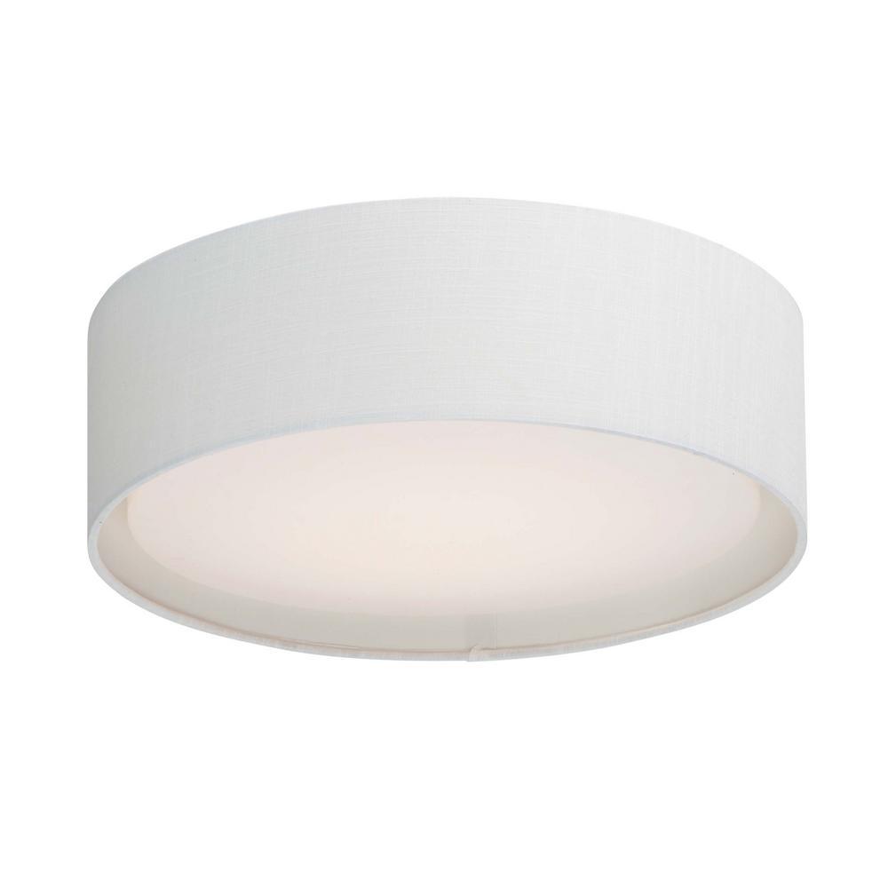 Maxim Lighting Prime 20 in. White Linen Integrated LED Flushmount Light