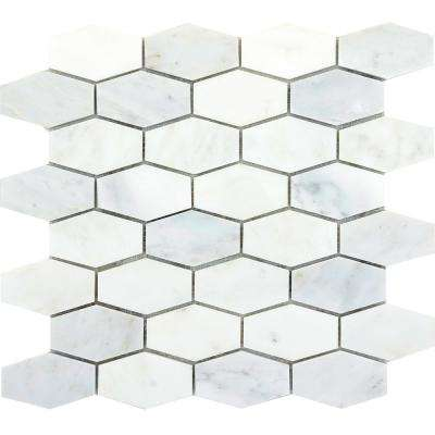 Marble Winter Frost Polished 12.01 in. x 12.01 in. x 10 mm Marble Mesh-Mounted Mosaic Tile