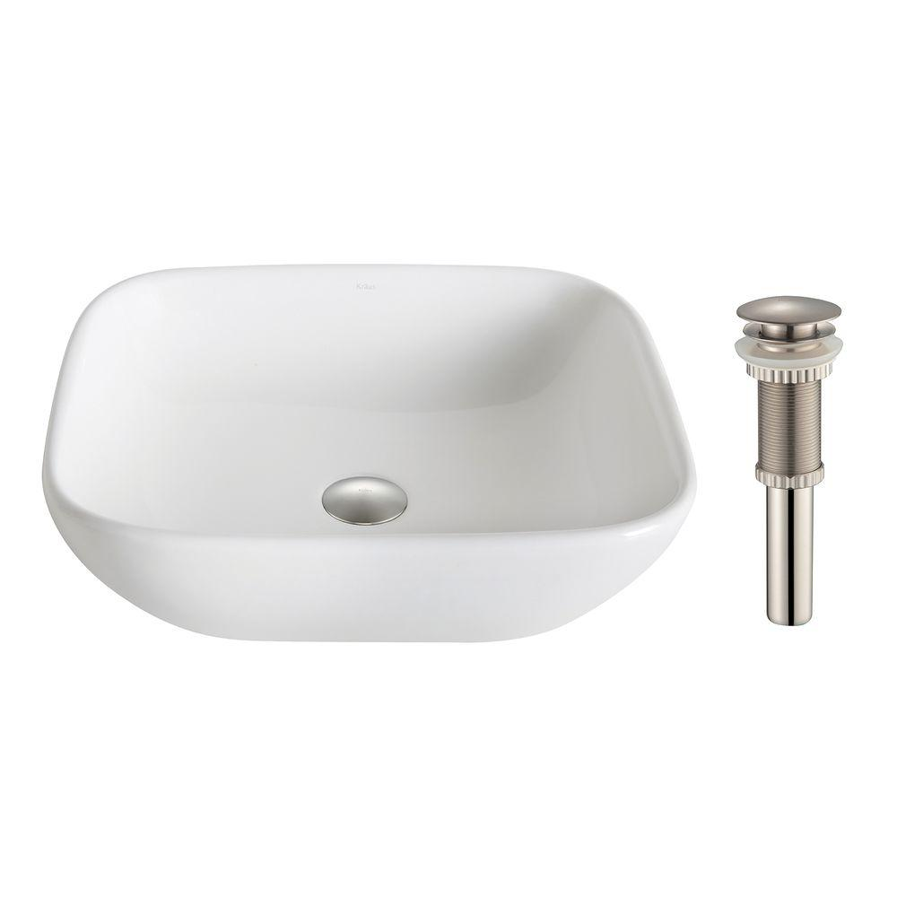 Elavo Soft Square Ceramic Vessel Bathroom Sink in White with Pop