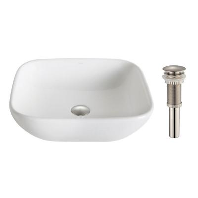 Elavo Soft Square Ceramic Vessel Bathroom Sink in White with Pop Up Drain in Brushed Nickel