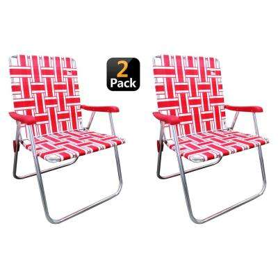 Red/White Aluminum Outdoor Spectator Classic Reinforced Webbed Folding Lawn/Camp Chair (2-Pack)
