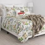 undefined Holiday Multi Village Full Queen Quilt Set