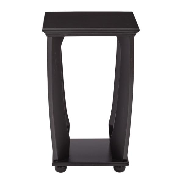 Mila Brushed Black Wood Square Accent Table