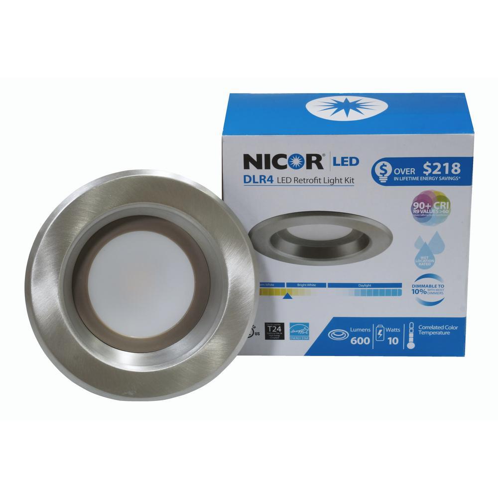 DLR Series 4 in. Nickel 4000K Integrated LED Retrofit Downlight Recessed Trim Kit, 91 CRI